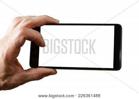 Human Hand Holding Smartphone Isolated On White