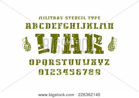Stencil-plate Slab Serif Font In Military Style. Letters And Numbers With Rust Texture For Logo And