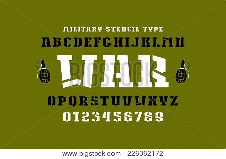 Stencil-plate Slab Serif Font In Military Style. Letters And Numbers For Logo And Title Design. Prin