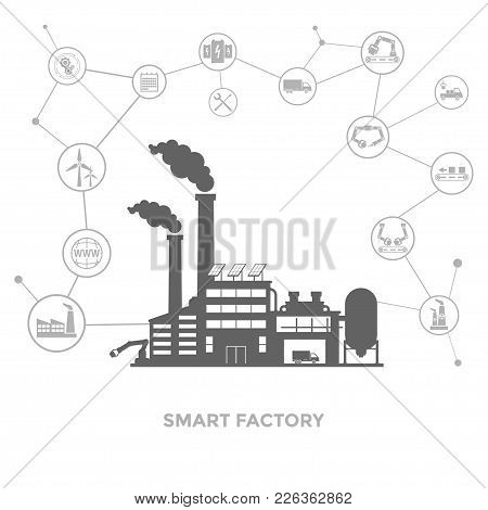 Smart Factory And Around It Icons. Smart Factory Or Industrial Internet Of Things. Vector Illustrati