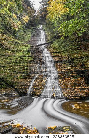 Excelsior Falls Is A Tall, Cascading Waterfall In Secluded Excelsior Glen On Seneca Lake Not Far Fro