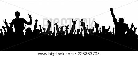 Rock Concert Silhouette. A Crowd Of People At A Party. Cheerful Crowd Silhouette. Party People, Appl