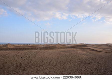 Desert With Sand Dunes In Maspalomas Gran Canaria Spain