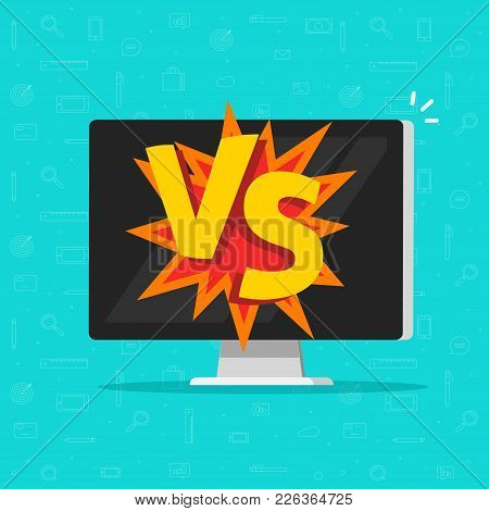 Versus Battle On Computer Vector Illustration, Flat Cartoon Pc Display With Vs Text, Idea Of Cybersp
