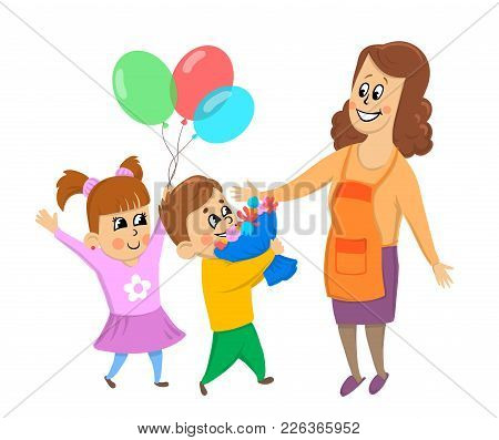 Children, Boy And Girl Give Their Mother Flowers And Balloons. Birthday, Women's Day Or Mother's Day