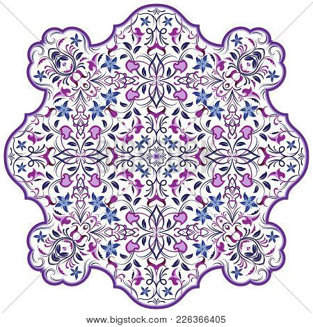Vector Decorative Element In Oriental Style. Richly Decorated With Arabesques Ornament For The Desig