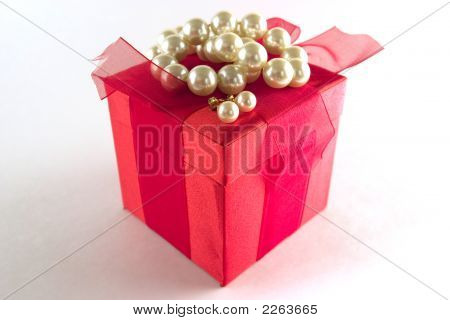 Gift Box With White Pearls