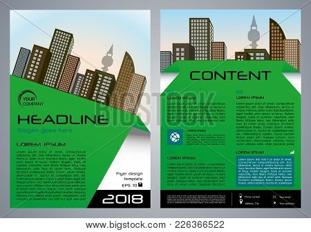 Vector Flyer, Corporate Business, Annual Report, Brochure Design And Cover Presentation With Green E