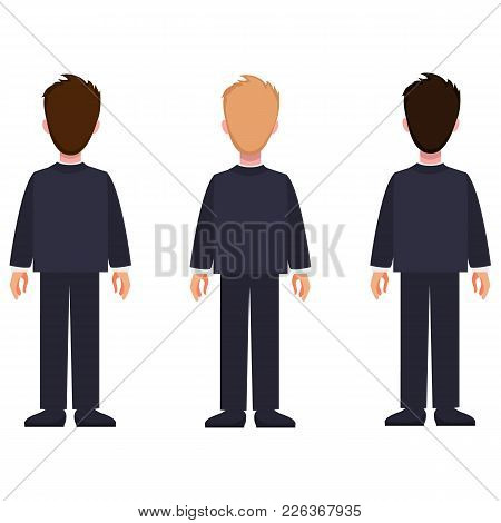 Man Constructor Set Of Cartoon Characters In Classic Suit, With Different Hairstyle And Color, Vecto