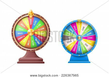 Set Of Wheels Of Luck Or Fortune Wheel, Automatic Gambling Machines Vector Illustration Isolated On