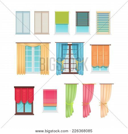 Luxurious Curtains Made Of Dense And Light Fabric And Practical Jalousies Of Plastic And Wood Hang O
