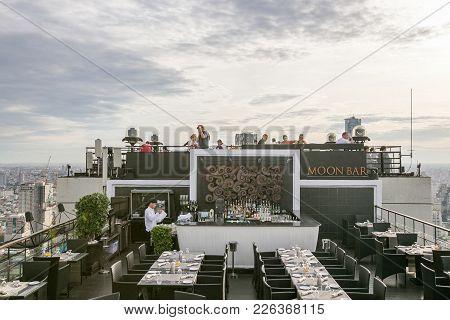 Bangkok, Thailand - May 21, 2016 : Luxury Roof Top Bar With Bangkok Cityscape At Moon Bar Bangkok, T