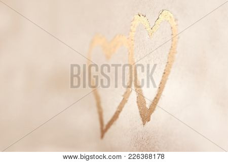 Two hearts, drawing on the snowy background, abstract winter background, heart to heart, romantic message for Valentines day, love concept