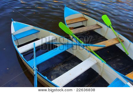 Two blue row boats anchored in a river shore