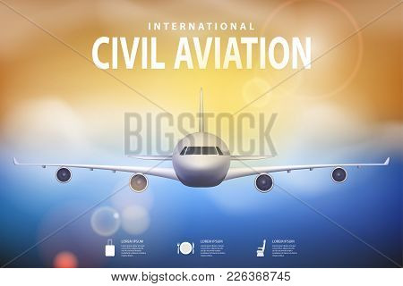 Summer Travel Illustration With Airplane On Blue Sunny Background. Brochure In Tourism Theme. Travel