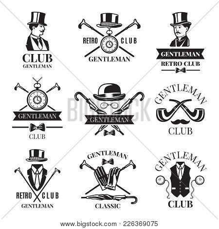 Retro Badges Or Labels Set For Gentleman Club. Logos Design Template With Place For Your Text. Gentl