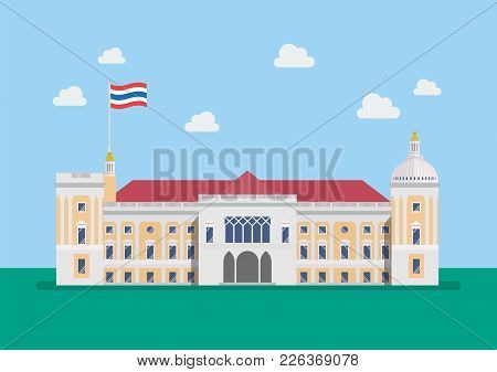 Thai Government House Building. Vector Illustration Graphic Design