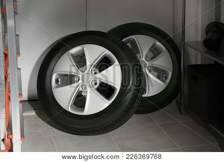 Car tires in automobile service center