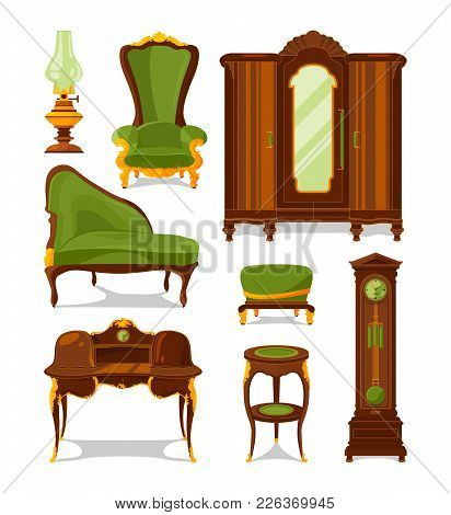Antique Furniture In Cartoon Style. Vector Illustrations Isolate. Antique Interior Furniture Wooden
