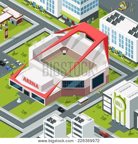Isometric Urban Landscape With Modern Building Of Stadium. Vector Stadium Arena And Sport Building F