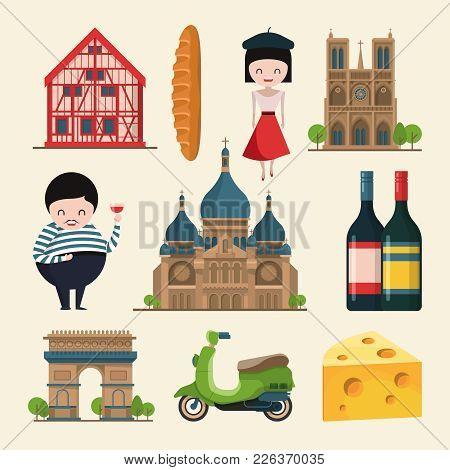 French Landmarks. Vector Illustrations In Cartoon Style. France Paris Travel, Landmark City