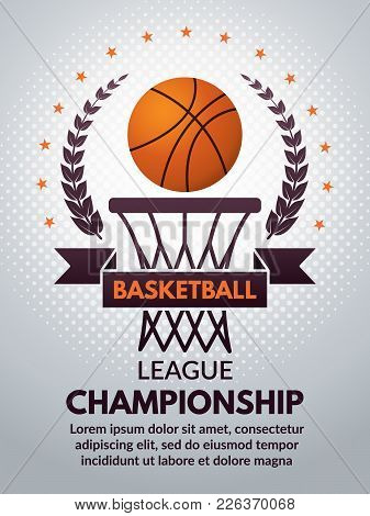Retro Basketball Poster For Sport College. Vector Basketball Banner For College Competition Champion