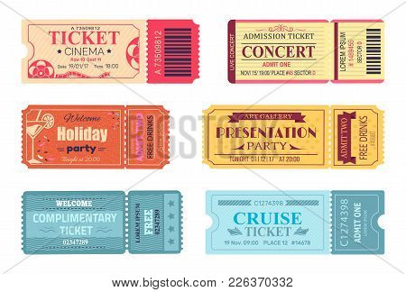 Tickets admissions vector photo free trial bigstock tickets and admissions set cinema and cruise trip birthday invitation free drinks and stopboris Choice Image