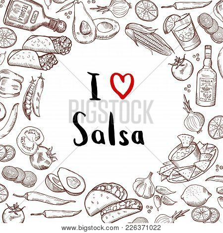 Vector Sketched Mexican Food Elements Background With Circle Of Empty Space In Center. Mexican Food