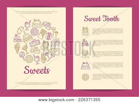Vector Card Or Flyer Template For Pastry Or Confectionary Shop With Linear Style Sweets Icons. Sweet