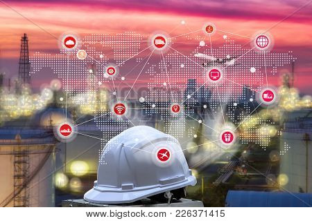 Smart Refinery Factory And Wireless Communication Network, Oil And Gas Industry Petrochemical Plant,