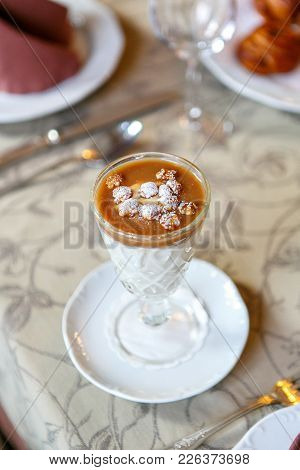 Dessert In A Glass On A Serving Table. Serving Dishes In A Restaurant, Cafe. Beautiful Decoration Of