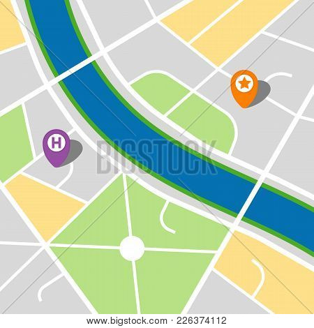City Map Of An Imaginary City With A River And Three Pins. Vector Illustration.