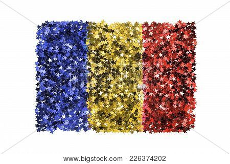 Metallic Stars Glitter In Colors Of Romanian National Flag Isolated Over White