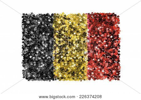 Metallic Tinsel Stars In Colors Of Belgian National Flag On White Background