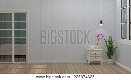 White Cabinet And Lamp In The Living Room Simple Layout Of Wall Vintage Empty Room 3d Rendering Luxu