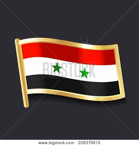 Flag Of  Syria In The Form Of Badge, Flat Image