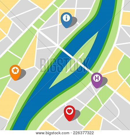 City Map Of An Imaginary City With A River And Four Pins. Vector Illustration.