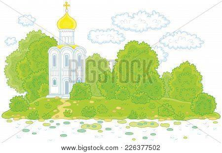 Old White Church Among Green Trees On A Picturesque Island
