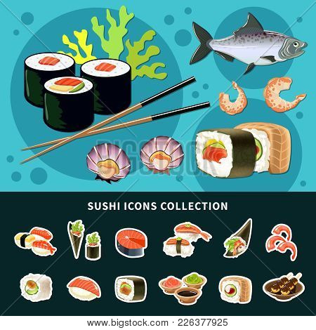 Sushi Flat Composition With Colored Poster And Sushi Icon Collection And Different Types Of Fish Dis