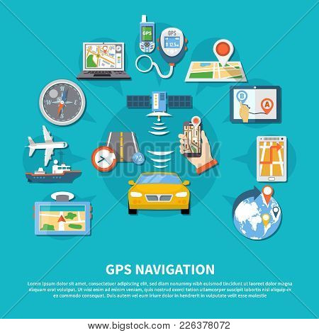 Navigation Background With Composition Of Flat Conceptual Global Positioning System Images Of Device
