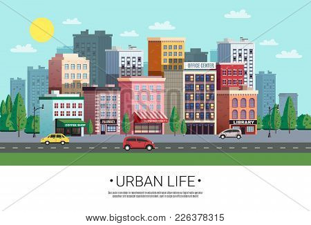 Town Shopping Area Street View With Colorful Houses Trees Cars And Roadside Green Lawn Vector Illust