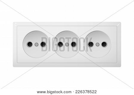 Triple Electrical Socket Type C. Power Plug Vector Illustration. Realistic Receptacle From Asia.