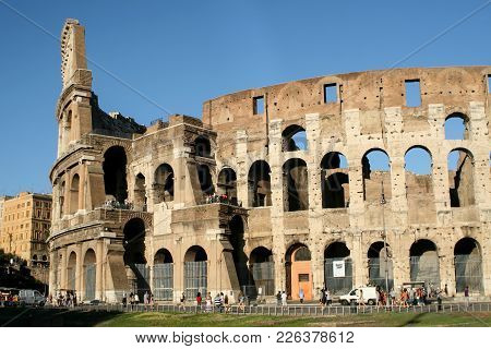 Summer. Italy. Rome. Day View Of The Colosseum