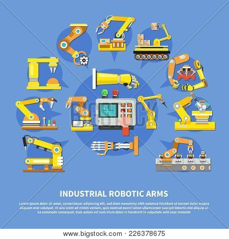 Colored Industrial Robotic Arms Composition With Different Types Of Arms And Robots Vector Illustrat