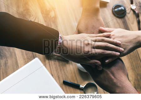 Brainstorming Business Meeting Teamwork, Business Hijacking Concept.