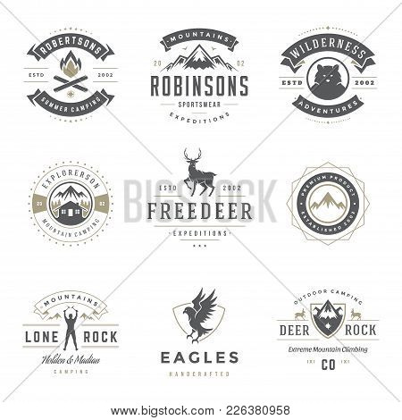 Camping Logos Templates Vector Design Elements And Silhouettes Set, Outdoor Adventure Mountains And