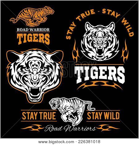 Vector Set Of Illustrated Tiger Themed Sport Logo, Patch, Icon, Or Badge With Various Style