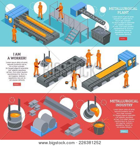 Steel Industry Metallurgical Plant Production Facilities 3 Isometric Horizontal Banners Webpage Desi