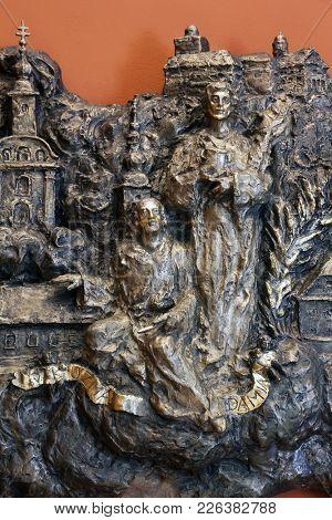 ZAGREB, CROATIA - MARCH 31: Saints Cosmas and Damian, bas relief in Chapel of Saint Dismas in Zagreb, Croatia on March 31, 2015