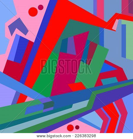 Abstract Surreal Color Vector Illustration Of City.